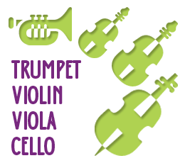 Trumpet, Violin, Viola, Cello