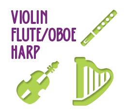Violin, Flute/Oboe, Harp