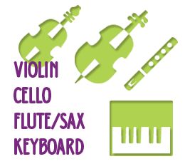 Violin, Flute or Sax, Cello, Keyboard